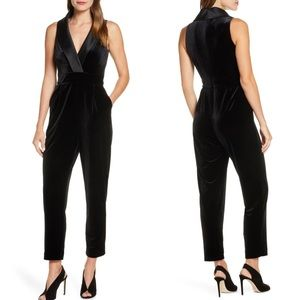 Eliza J Sleeveless Velvet Black Jumpsuit